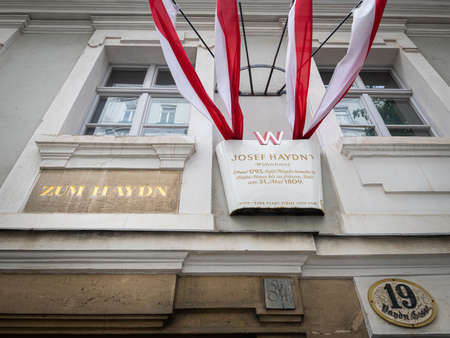 Vienna, Austria - June 18, 2020: Museum of Josef Haydn in the 6th district of Vienna. The famous Austrian composer bought this house with a garden in 1793. After some reconstructions in 1797 he moved in and lived there until his death in 1809.