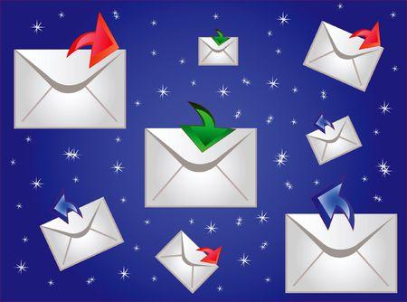 Postal envelopes on turn blue background Stock Photo - 7627798