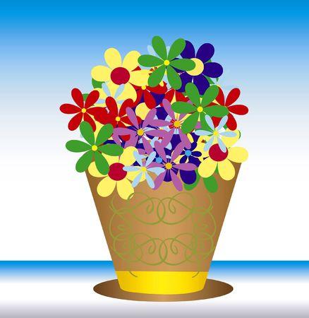 varicoloured: Ramo bella flor bocetado en vasija de barro Foto de archivo