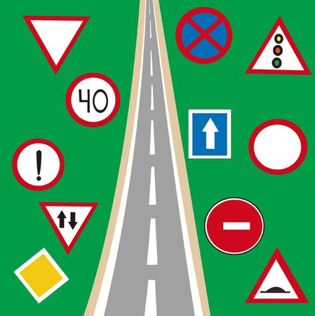 sectoring: Road and much different traffic signs Stock Photo