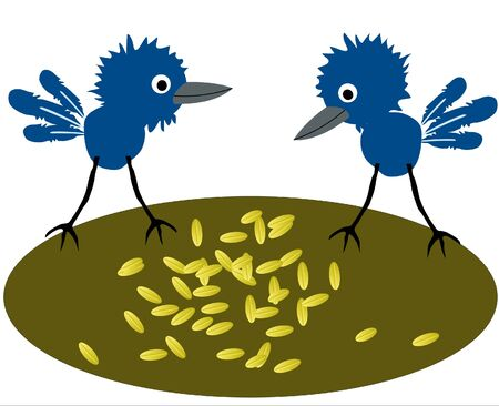 spilt: Two birdies pecking spilt grain