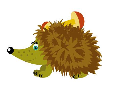 prickly: Nice prickly hedgehog with mushroom on thorn