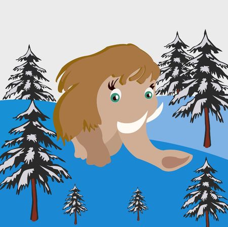 prehistorical: Prehistorical animal mammoth goes on winter wood Stock Photo
