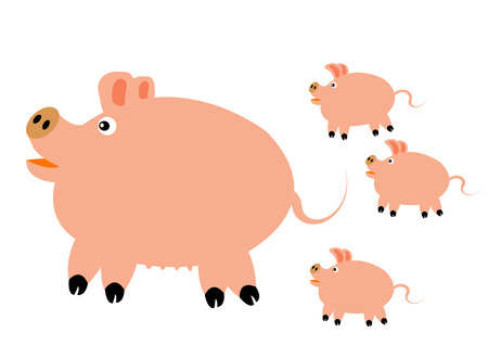 Big pig with three small pigs