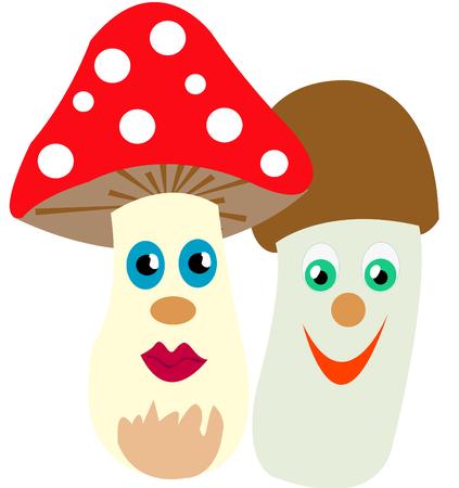 uneatable: Mushroom fly agaric near by other mushroom Illustration