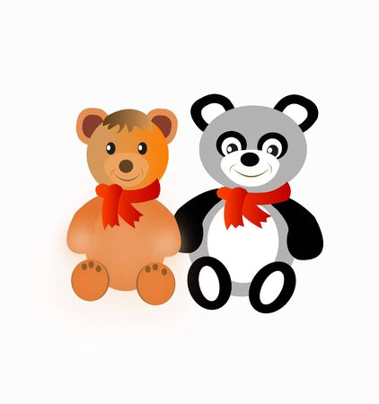 usual: Two toys of the teddy bear.Panda and usual bear
