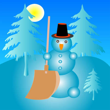 molded: Molded from snow snegovik in hat and with shovel in hand in wood