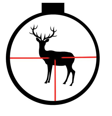 光学視力プログラムを介して野生の鹿のシルエット  イラスト・ベクター素材