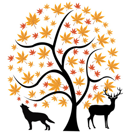 Tree with sheet and animal under him Stock Vector - 8176305