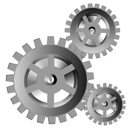 Several gears of the miscellaneous of the size 일러스트