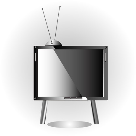 New television set and antenna on gray background Stock Vector - 8330948