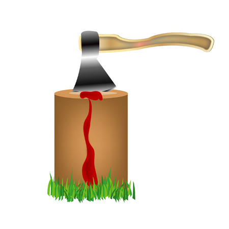 Axe protruding from wooden is watered and flowing down blood