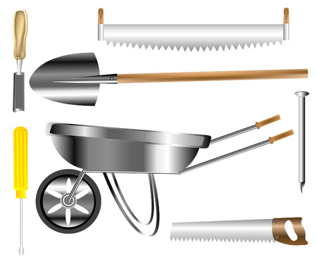 Varied tools for construction and work on house