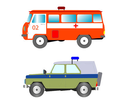 militia: Machines of the special purpose ambulance and militia Illustration