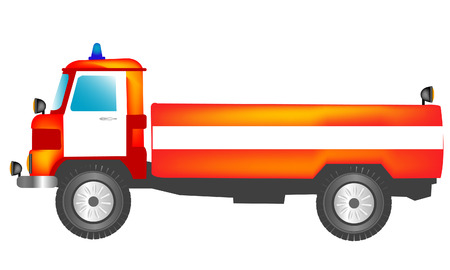 extinguish: Special fireman car equiped with for stewing fire Illustration