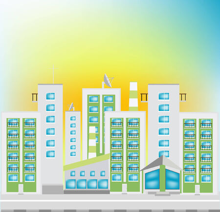 Street of the small borough with high-rise buildings Stock Vector - 8418304