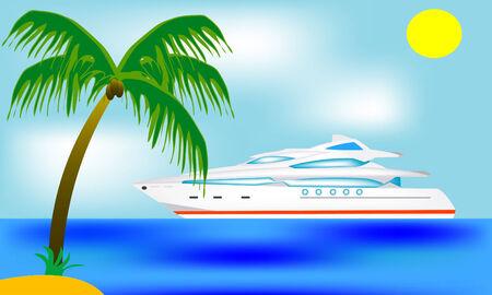 blanching: Luxurious sailboat beside tropical coast