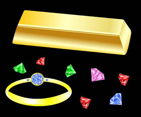 Gold bullion and jewels with ring Vector