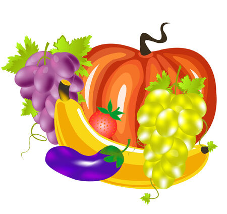 Still life from varied fruit and vegetables Stock Vector - 8418310