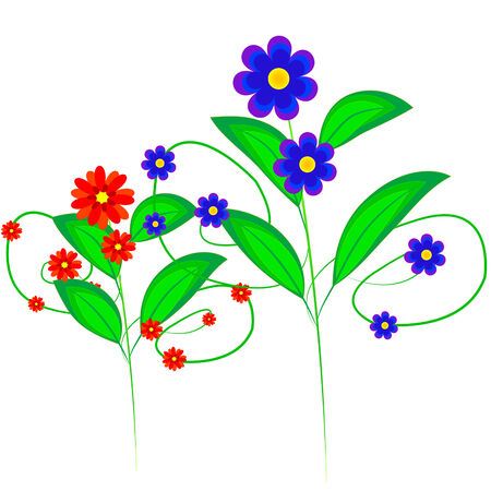 flowerses: Drawing varicoloured field colour with sheet Illustration