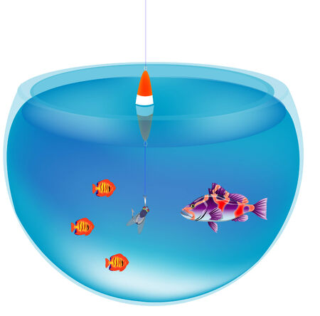 bob: Aquarium with fish and fishing tackle with bait