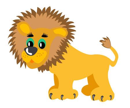 Drawing animal lion on white background Illusztráció