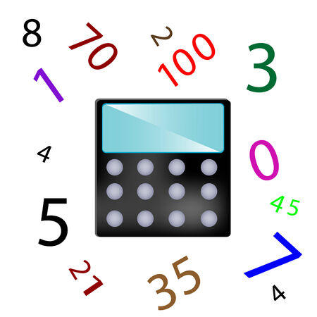 numerals: Calculator for count and numerals on white background