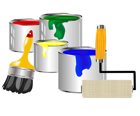 Banks with paint of the miscellaneous of the colour and painting tools