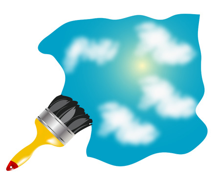 Blue sky with cloud and paint brush Stock Vector - 8568337