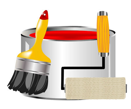platen: Red paint and hand with platen Illustration