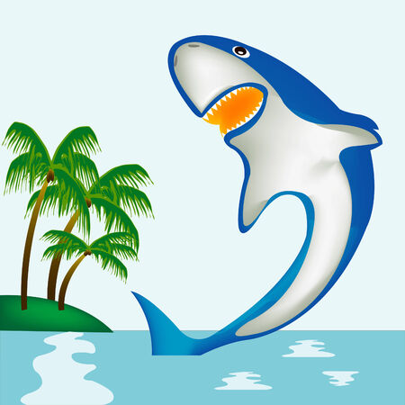 Ferocious shark seaborne beside coast of the island with palm Stock Vector - 8568342