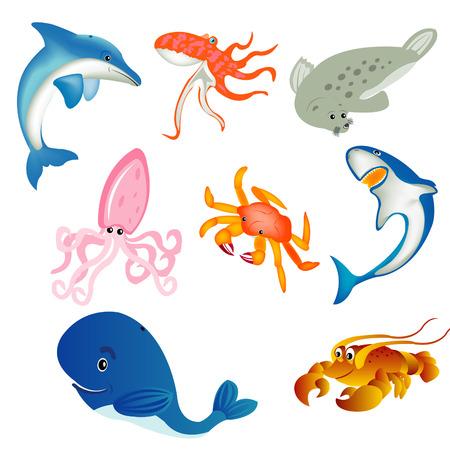 流行の小史住民、カニおよび他を魚します。  イラスト・ベクター素材