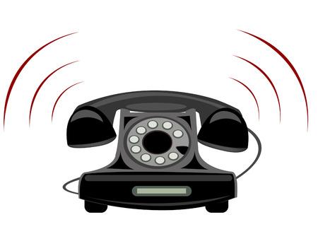 白い背景の上の固定電話のイラスト