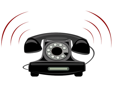 Illustration of the stationary telephone on white background Ilustrace