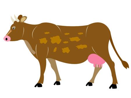 an ungulate: Mucca animali Ungulata su sfondo bianco Vettoriali