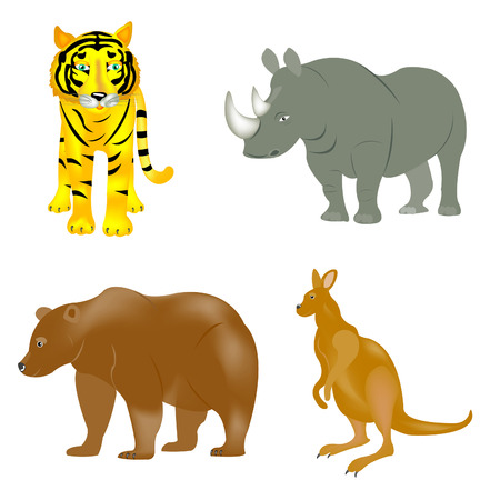 Illustration of the wild beasts on white background