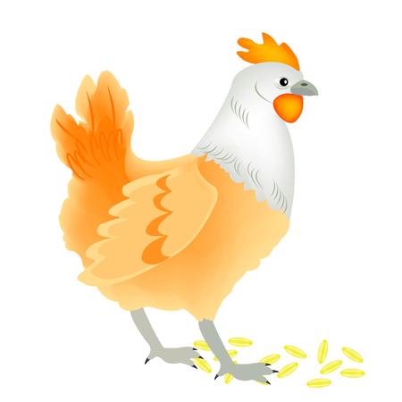 Illustration of the hen on white background Stock Vector - 8615657