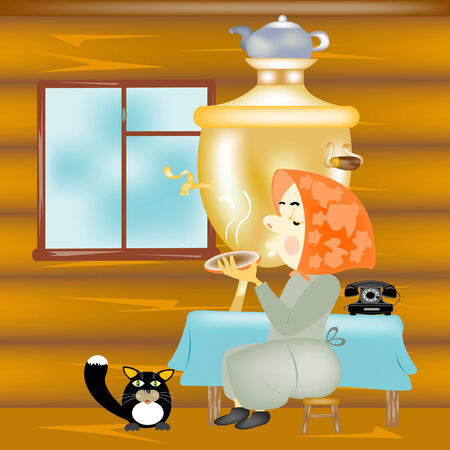Elderly woman in farmhouses sits at the table Vector