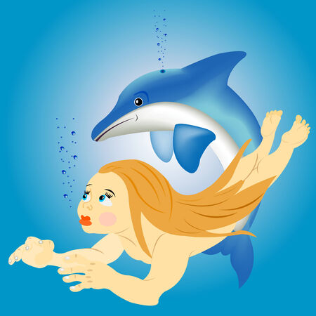 Girl sails under water with dolphin Stock Vector - 8666273