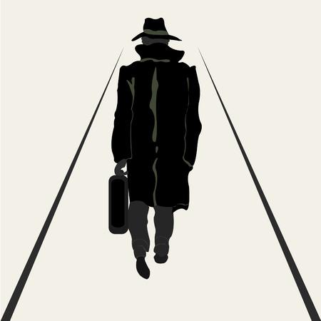 小型スーツケースとレインコートを着て男性を手に行く黒いシルエット  イラスト・ベクター素材