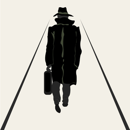 Black silhouette going men in raincoat with valise in hand