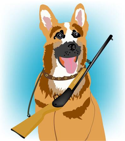 Big dog with handgun on neck