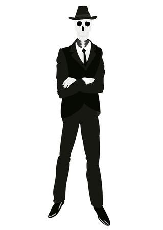スーツとネクタイ ホワイト バック グラウンド上のスケルトンの男性