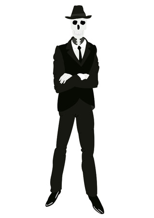 Skeleton men in suit and tie on white background Ilustrace