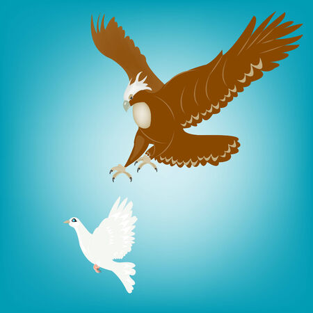 Eagle hits upon dove in sky Stock Vector - 8916726