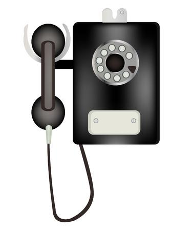 speaking tube: Stationary public telephone on white background