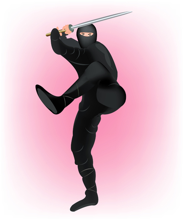 Japanese warrior invisible man with plain weapons in hand Vector