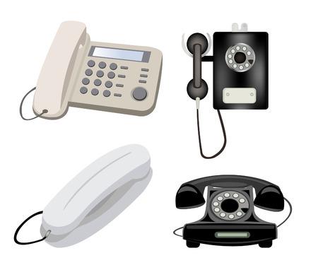 telephones: Varied stationary telephones on white background