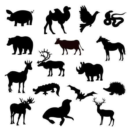 Black silhouettes home and wildlifes on white