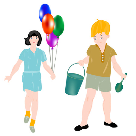dustpan: Girl with ball and boy with pail and dustpan Illustration